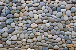 blue and gray sea pebble-stone wall texture