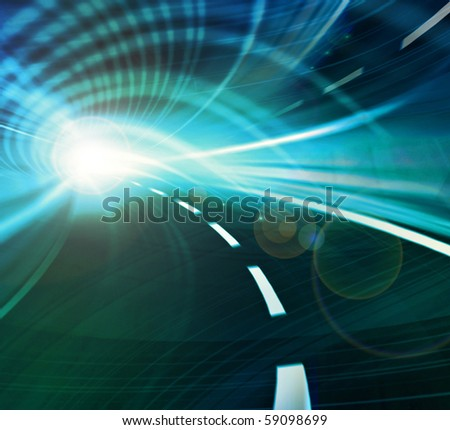 Blue and green abstract illustration of a speed motion in a tunnel  or an urban highway road