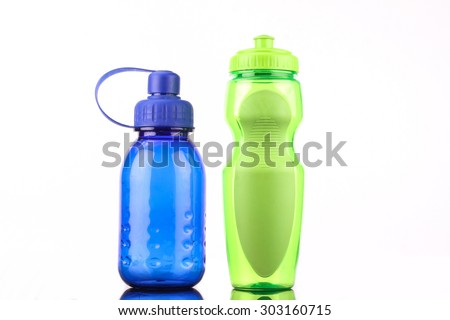 blue and green bottle isolated on white background