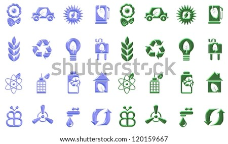 Blue and green eco icons sets in a chrome effect / Environmental icons
