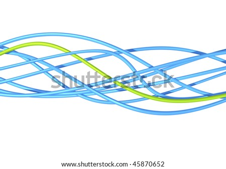 blue and green fibre optic cables