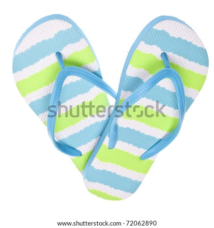 Blue and Green Flip Flop Sandals in Heart Shape Isolated on White. - stock photo