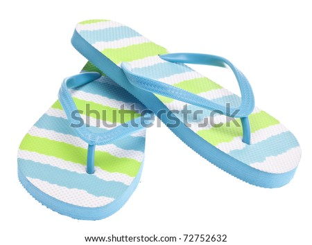 Blue and Green Flip Flop Sandals Isolated on White with a Clipping Path.