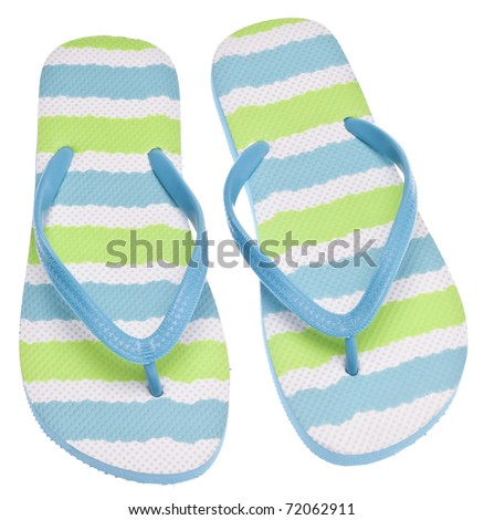 Blue and Green Flip Flop Sandals on White.