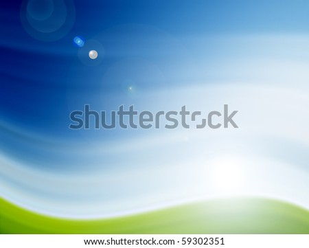 Blue and green illustration, conceptual landscape with sunlight - stock photo