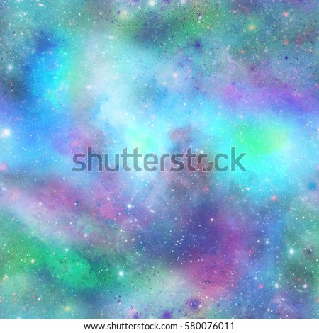 Blue and Green Outer Space Galaxy PrintSeamless Pattern in Repeat