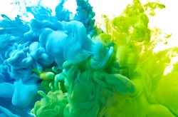 Blue and green paint splash isolated on white background