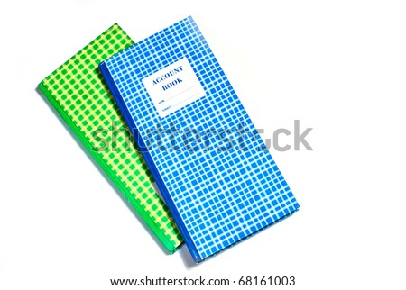 blue and green plaid account book isolated on white background