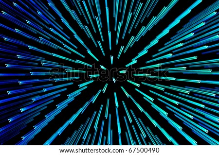 Blue and green points of light abstract