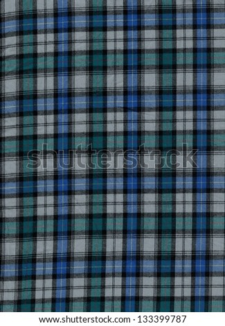 Blue and green tartan cotton fabric