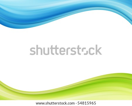 Blue and green waves over white background. Template illustration
