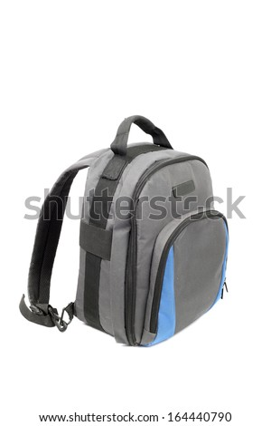 blue and grey rucksack isolated on white