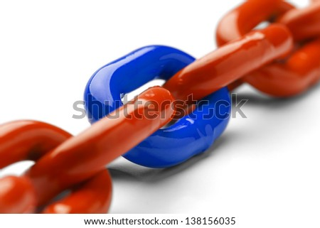 Blue and Orange Chain Close Up Isolated on White Background.
