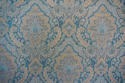 Blue and orange classic damask wall