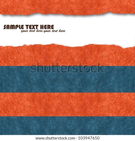 Blue and orange handmade mulberry paper,for text - stock photo