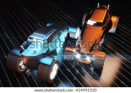 Blue and orange Hot Rod cars on black planks. 3D Rendering #414992320