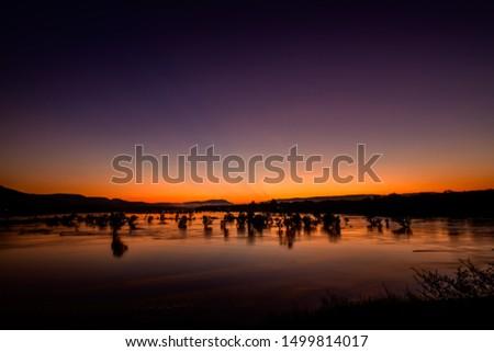 Blue and orange twilight sky