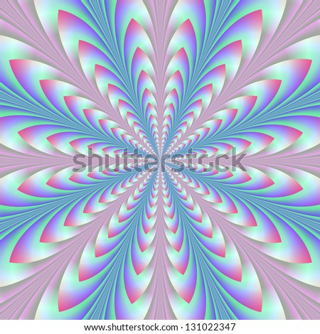 Blue and Pink Arrowheads / Digital abstract fractal image with an radiating arrowhead design in blue, and pink.