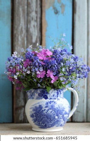 blue and pink bouquet  bunch...