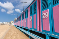 Blue and pink cabins of les Sables beach (Les Sables d'Olonne, France)