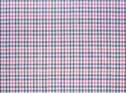 Blue and pink checked cotton fabric, textile background image