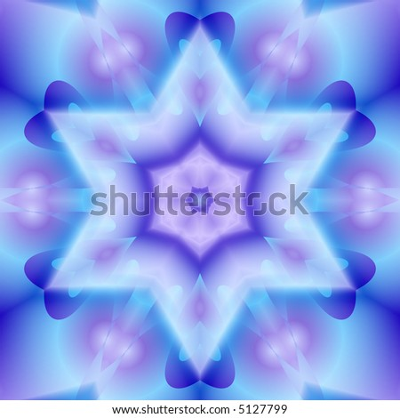 Blue and pink kaleidoscope that looks like a snowflake or a six pointed star.