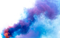 Blue and pink smoke isolated on a white background.