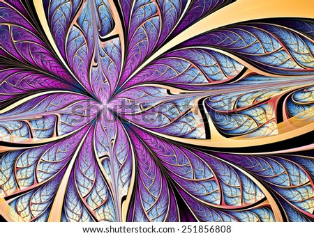 Stock Photo Blue and purple butterfly on a flower. Abstract color background for modern creative design. Beautiful decoration  for wallpaper, interior, album, flyer cover, poster, booklet. Fractal artwork