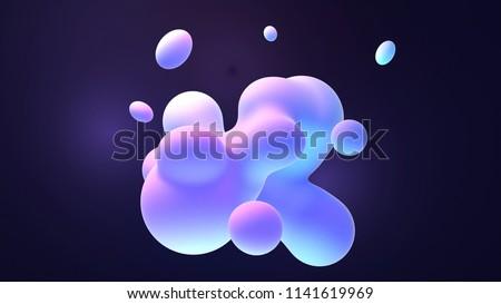 Blue and purple gradient color floating liquid blob. 3d rendering picture.