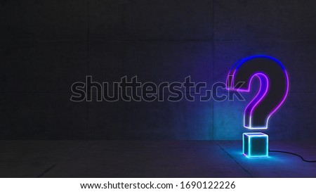 Blue and purple gradient neon light question mark with concrete wall 3D rendering