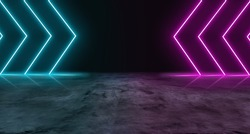 Blue and purple neon light on concrete cement floor and black background studio, Abstract high-tech, technology futuristic or entertainment feeling, Empty space in middle to place product or message.