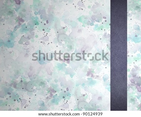 blue and purple watercolor background with soft pale paint blotches and stains with dark blue vintage grunge textured ribbon stripe layout design on frame border, for Easter and spring
