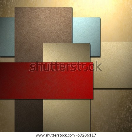 blue and red abstract background with brown layered rectangles in graphic art design layout, texture, soft lighting, and copy space to add your own title or text to cover page