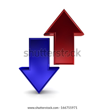 Blue and red and red arrows pointing in opposite directions - stock ...