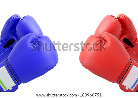 Blue and Red Boxing gloves with white blackground