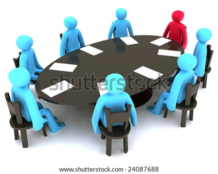 Blue and red characters around the table on meeting.