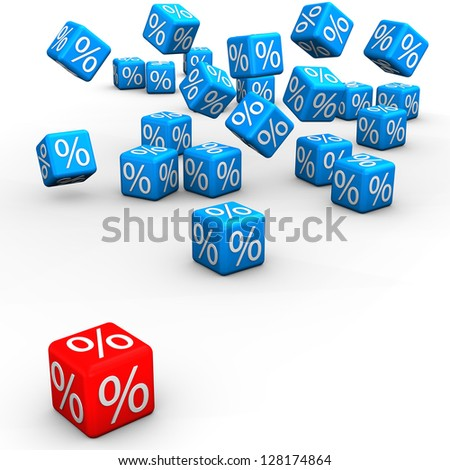 Blue and red cubes on the white background. 3d illustration.