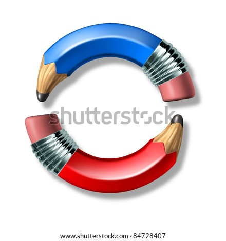 Blue and red curved pencil symbol representing politics and voting on a white background.