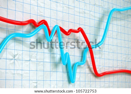 blue and red 3D Stock exchange curves on graph paper