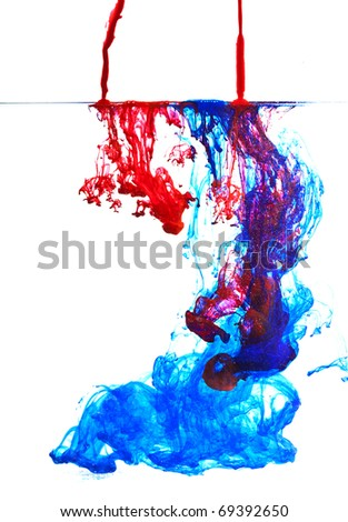 blue and red ink in water abstract
