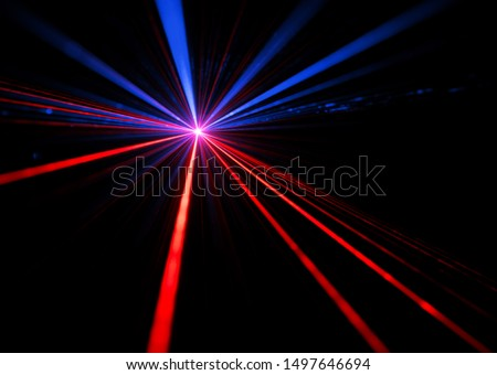 Blue and red laser beam light effects on black background #1497646694