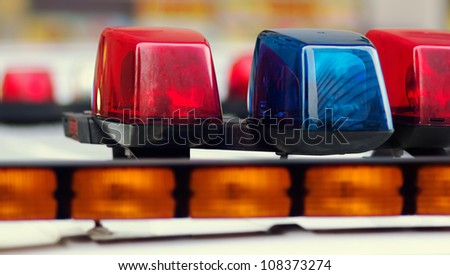 Blue and Red Lights Police Car