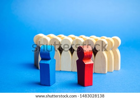 Blue and red people stand in front of a crowd. Conflict of interest concept. Two opponents. Dispute. Search for compromises. Social problems. Business competition. Political Debate Stock photo ©