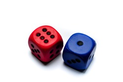 blue and red plastic / wooden isolated rolling dice with number six and one on them , luck and unluck concept
