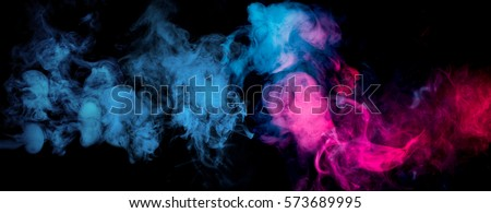 blue and red smoke on black background
