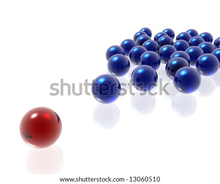 blue and red spheres on the white background