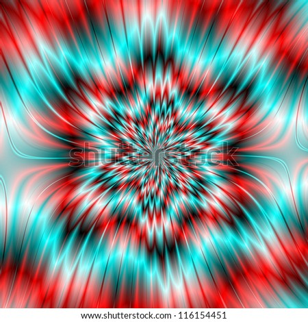 Blue and Red Star Shape/Digital abstract image with a six pointed star shape in blue, red, white and black.