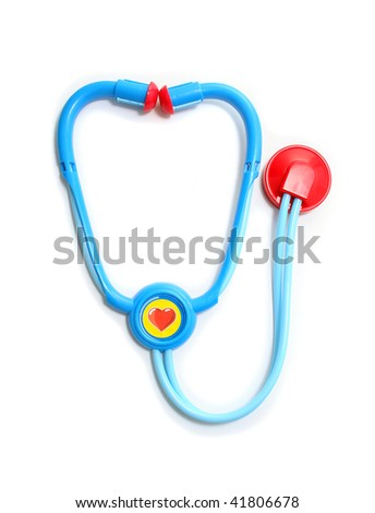 Blue and Red Toy Stethoscope on White Background