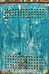 Blue and rusty metal door