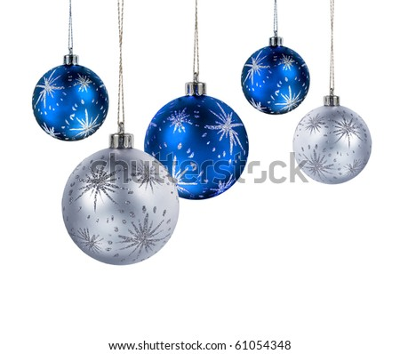 blue and silver christmas balls hanging isolated on white background - Blue And Silver Christmas Ornaments
